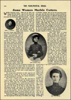 """Some Women Marble Cutters,"" in Monumental News, pub. after 1885/before 1939. (Miss Lucy J. Daniel, of Executor, Mo.; Miss Alice E. Rigg , of Canada; and Miss Pearl Sams, of Great Bend, Kansas.)"