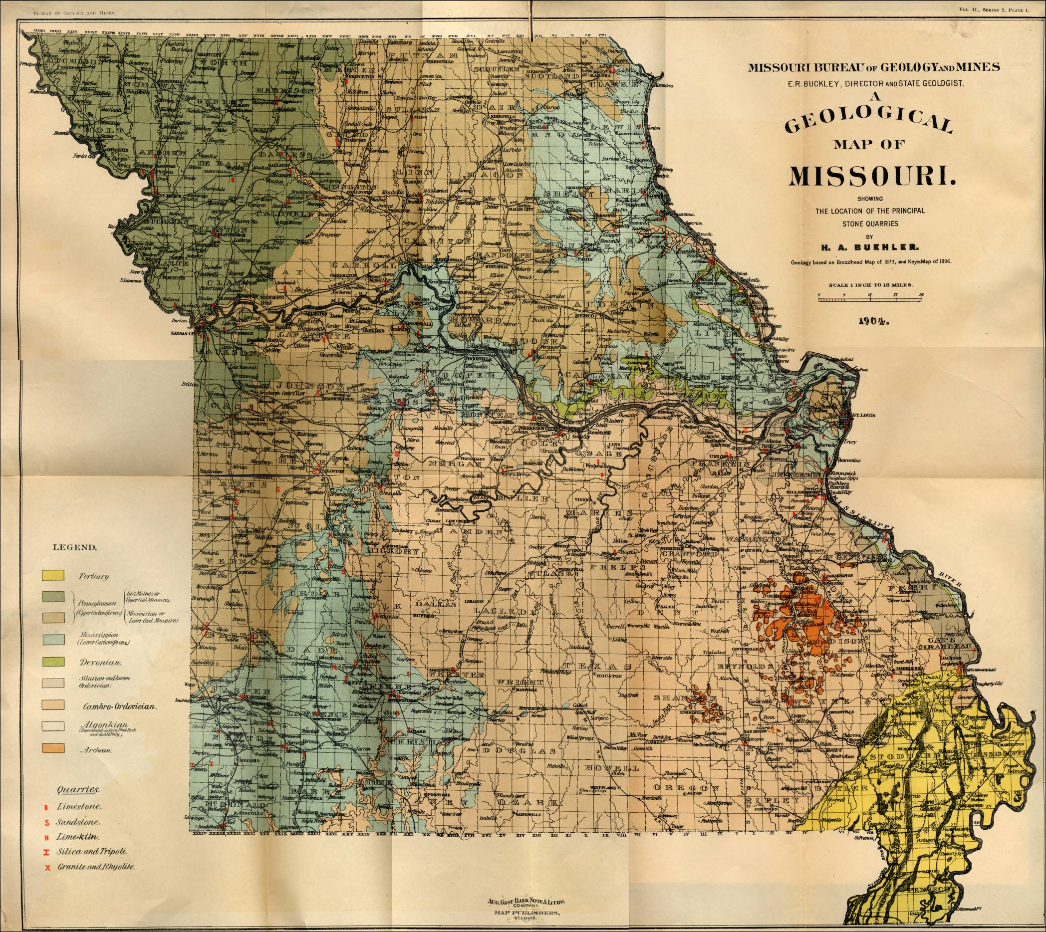 Missouri Quarry Links And Photographs - Map of misouri
