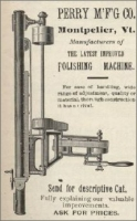 The Perry Manufacturing Co., Montpelier, Vermont, polishing machine ad in The Monumental News, March 1896, pp. 217