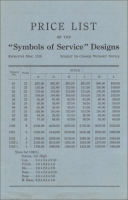 "Front page of the ""Price List of the 'Symbols of Service' Designs"" (Vermont Marble Co., 1919)"