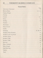 Index for the Vermont Marble Co. Wholesale Price List of Monumental Marble, Effective January 1, 1950