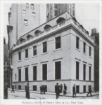 """Banking Office of Brown Bros. & Co., New York – At Hanover and Beaver Streets. Architects: Delano & Aldrich, New York. Built of Georgia white marble..."" (""Stone"" magazine, July 1917)"