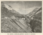 """The Carrara Mountains, showing railway to quarries."" Scientific American, April 8, 1899, pp. 215"