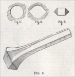 """Fig 3 is a round hole drilled either by hand or otherwise, preferably otherwise, because an important point is to get it round. Fig. 4 is the improved form of hole, and this is made by inserting a reamer, Figs. 5 and 6, into the hole in the line of the proposed fracture, thus cutting two V-shaped grooves into the walls of the hole."" (from the December 12, 1891, issue of Scientific American Supplement)"