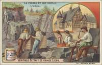 French Trade Card - Slate Quarrying, front (ca 1903)