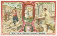 French Trade Card - Alabaster Quarrying, front (ca 1903)