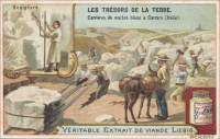 Treasures of the earth. Marble quarries white Carrara (Italy) - Sculpture, French trade card (front)