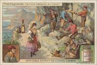 French Trade Card - Basque stone quarry workers, front (ca 1903)