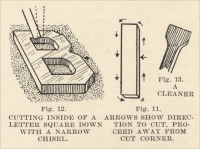 Fig. 11. Arrows show direction to cut, proceed away from cut corner & Fig. 12. Cutting inside of a letter square down with a narrow chisel, from The Manual of Monumental Lettering, early 1900s