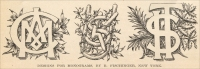 """Designs for Monograms,"" by R. Fischinger, New York, in The Monumental News, Vol. XVII, No. 8, August 1905, pp. 549"
