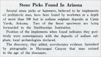"""Stone Picks Found in Arizona,"" in ""Stone,"" July 1925, pp. 428"