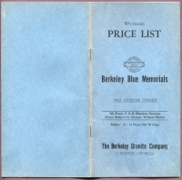 Front cover of Wholesale Price List, Berkeley Blue Memorials, Berkeley Granite Co., Elberton, Georgia