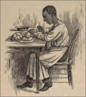 Sketch of Abe Hanson, sculptor, at work (circa 1892)