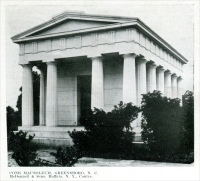 """Cone Mausoleum, Greensboro, North Carolina, McDonnell & Sons, Buffalo, New York, Contractors."" (of Mt. Airy granite) (From ""Some Examples of Recent Mausoleum Work,"" The Monumental News, January 1921, pp. 44)"