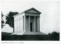 """Presbrey-Leland Company, Contractors."" (The Manville Mausoleum is located in the Kensico Cemetery, New York. The exterior was executed in Barre Granite, and the ""…interior in pink Tennessee marble furnished by the Knoxville Marble Co. The bronze work was from the foundry of Paul E. Cabaret & Co., of New York."") (From ""Some Examples of Recent Mausoleum Work,"" The Monumental News, January 1921, pp. 44)"