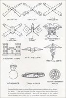 """Grouped on this page are some of the more important emblems of the American Army."" (""Symbols of Service,"" Vermont Marble Co., 1919)"