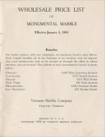 Front cover of the Vermont Marble Co. Wholesale Price List of Monumental Marble, Effective January 1, 1950