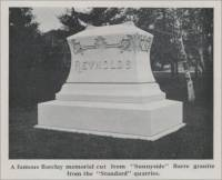 """A famous Barclay memorial cut from 'Sunnyside' Barre granite from the 'Standard' quarries."" (Reynolds)"